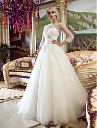 LAN TING BRIDE A-line Princess Wedding Dress See-Through Court Train Bateau Tulle with Appliques Beading Sash / Ribbon