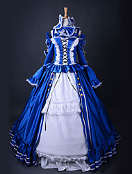 Hevalier Long Sleeve Floor-length Blue and White Satin Aristocrat Lolita Dress