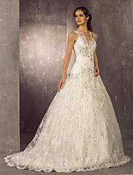 Lanting A-line Petite / Plus Sizes Wedding Dress - Ivory Sweep/Brush Train One Shoulder Lace / Satin