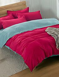 SYQY  1.5M Bed/1.8M Bed Double Pillowslip Polyester Fiber Liveness Color Contrast Four Pieces Beddings