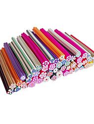 Mezcla de 50 piezas de dibujos animados patrón de flores Canes Varillas clavo de la decoración del arte