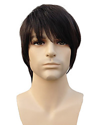 Capless High Quality Synthetic Short Straight Natural Black Man'S Wigs