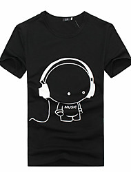 Men's Clothing Earphones Print Elastic Lycra Cotton Print Short-Sleeve T-Shirt