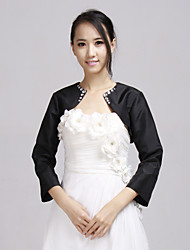 Wedding  Wraps Coats/Jackets Long Sleeve Taffeta Black Wedding / Party/Evening / Office & Career Beading / Rhinestone Open Front