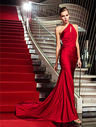 Military Ball/Formal Evening Dress - Ruby Plus Sizes Trumpet/Mermaid One Shoulder Sweep/Brush Train Jersey