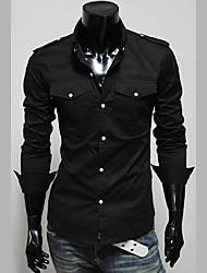 Männer Stehkragen Schlank Langarm-Shirt