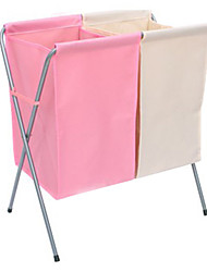 Contemporary Beige and Pink Nonewoven Laundry Basket