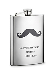 Personalized Father's Day Gift Beard Pattern 8oz Metal Capital Letters Flask