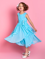 A-line Tea-length Flower Girl Dress - Chiffon Sleeveless