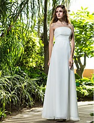 LAN TING BRIDE Sheath / Column Wedding Dress - Classic & Timeless Simply Sublime Floor-length Strapless Cotton with Flower Ruche