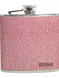 Personalized Father's Day Gift Pink Splash 5oz PU Leather Capital Letters Flask
