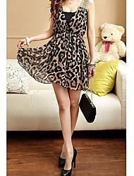 Mini vestido atractivo del leopardo de las mujeres