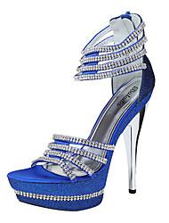 Women's Wedding Shoes Peep Toe Sandals Wedding/Office & Career/Dress Blue/White/Silver/Gold