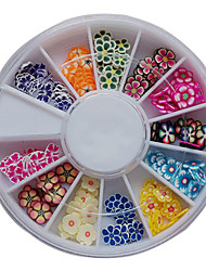120PCS Mixed Pattern Colorful Flower Fimo Slice Animal Nail Art Decoration