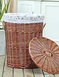 Traditional Flower Cloth Liner Brown Bamboo Cylinder Storage Bin For Cloth