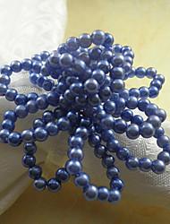 Blauwe bloemen Acryl Kralen Servetring, Dia4.2-4.5cm set van 12