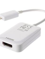 micro usb 2.0 a hdmi blanco cable MHL hdtv / f m v1.4 (0,1 m)