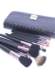 Pro High Quality 15 PCs Natural Goat Hair Makeup Brush Set with Black Crocodile Skin Pouch