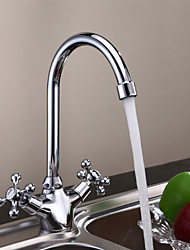 Traditional Tall/­High Arc Deck Mounted Rotatable with  Ceramic Valve Two Handles One Hole for  Chrome , Kitchen faucet