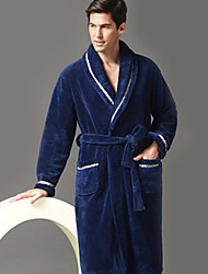 Bath Robe,High-class Man Dark Blue Solid Colour Garment Thicken
