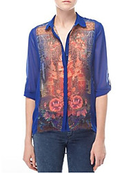 Women's Tops & Blouses , Chiffon Vintage/Casual/Work BYS