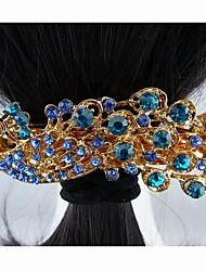 Moda Hermosos aleación completa Cristal Grandes Bule del pavo real de las horquillas de la Mujer
