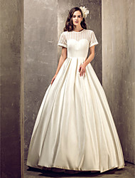 A-Line Illusion Neckline Floor Length Satin Wedding Dress with Draped by LAN TING BRIDE®