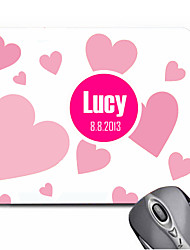 Personalized Gift Heart Pattern Pink Gaming Optical Rectangle Mouse Pad (20.5x18cm)