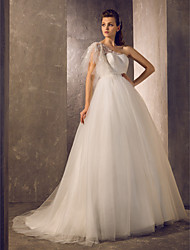 Lan Ting Ball Gown Plus Sizes Wedding Dress - Ivory Sweep/Brush Train One Shoulder Tulle