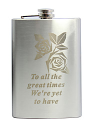 Personalized Father's Day Gift Rose Pattern 8oz Metal Flask