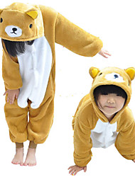 Yellow Little Bear Flannel Kids Kigurumi Pajama