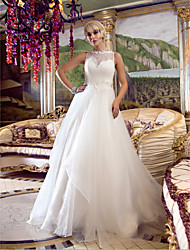 LAN TING BRIDE A-line Princess Wedding Dress See-Through Court Train Queen Anne Lace Organza with Appliques Beading Button