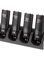 4 en 1 station de charge + 4 packs de batteries pour Nintendo Wii