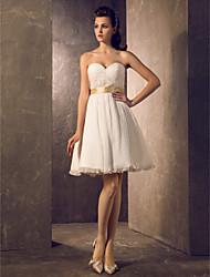 Lan Ting A-line Plus Sizes Wedding Dress - Ivory Knee-length Sweetheart Chiffon/Satin