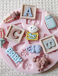 Mold ABC BEBÉ silicona Fondant Moldes Azúcar Artesanía Herramientas molde para pasteles de chocolate