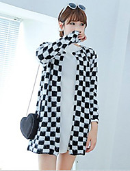 Women's Long Chess Board Grid Coat