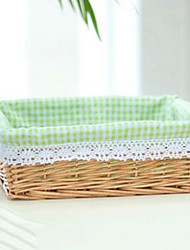 Classic Small Beige Rattan Laundry Basket with Green Plaid Lining