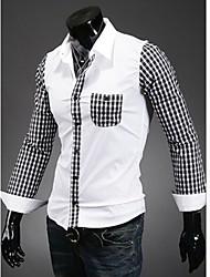 Luxo Magro Casual camisa de manga longa homens de