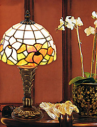 Traditional Resin Small Tiffany Table Lamp Glass Shade Flower Pattern