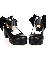 Zapatos Lolita Clásica y Tradicional Hecho a Mano Tacón alto Zapatos Un Color 4.5 CM Negro Para Mujer Cuero Sintético/Cuero de Poliuretano