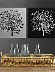 Stretched Canvas Print Art Floral Black White Tree Set of 2