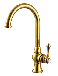 Contemporary Antique Brass Brass One Hole Single Handle Brass Kitchen Faucet
