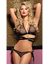 Classic Style Black Polyester Women's Lingerie Sexy Uniform
