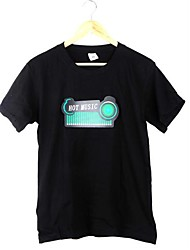 New Black Music Sound Activated LED T-Shirt Colorful Equalizer Flashing Light