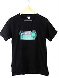 Новый черный Музыка Звук активированного светодиодной T-Shirt Красочный эквалайзер проблесковый маячок