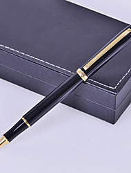 estilo de negócio prémio personalizado de presente preta de metal gravado caneta de tinta