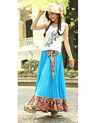 Bohemia alta de la cintura del patrón del pavo real de costura floral mujeres faldas largas con cinturón (patrón de flores entrega al azar)