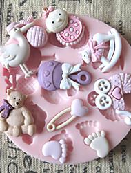 3d pies de oso bebé de juguete molde herramientas artesanales moldes de pasta de azúcar del molde de silicona de azúcar de chocolate para tortas