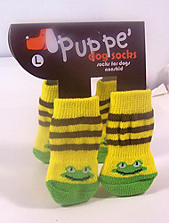 Yellow Frog Fashion Socks with Non-slip for Pets Dogs