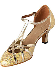 Non Customizable Women's Dance Shoes Modern Leatherette/Sparkling Glitter Customized Heel Silver/Gold